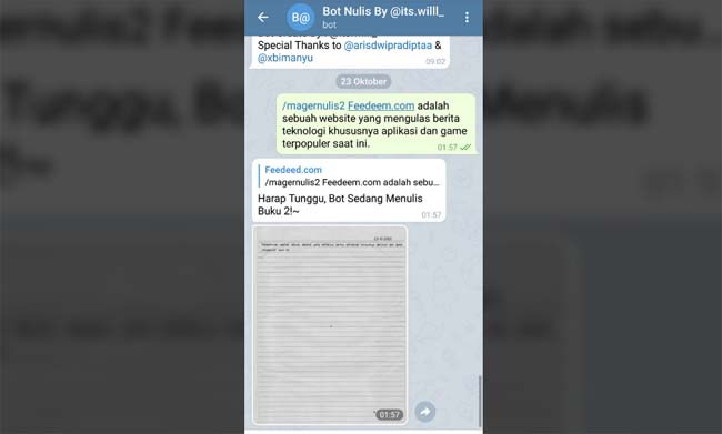 Bot Nulis Telegram, Menulis Otomatis Dengan Sangat Mudah