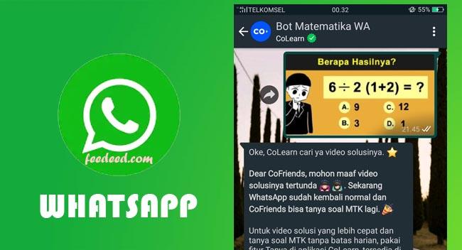 Nomor Bot Matematika WA (Whatsapp) dan Cara Menggunakanya